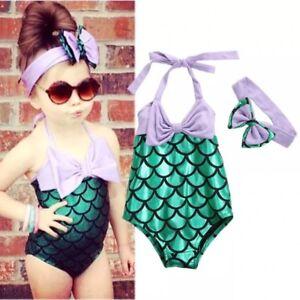 Brand New Girls Mermaid Swimming Costume Bikini Age 2 3 4 5 6 7 Ebay