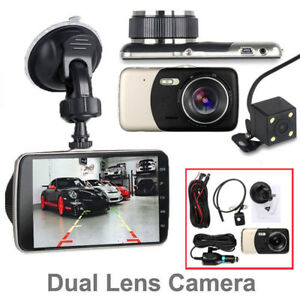 4'' 1080P Dual Lens Car DVR Dash Cam Video Recorder Front and Rear Camera LCD