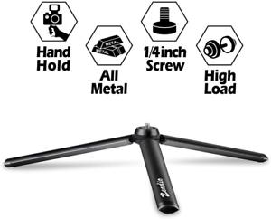 Zeadio Metal Mini Tripod with 1//4 Inch Screw Desktop Tabletop Stand Tripod for