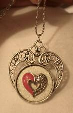 Lovely Openwork Heart Swirled Red Enamel Floral Silvertone Pendant Necklace