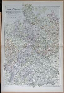 1882 LARGE ANTIQUE MAP THE GERMAN EMPIRE WEST MUNICH BERLIN BREMEN