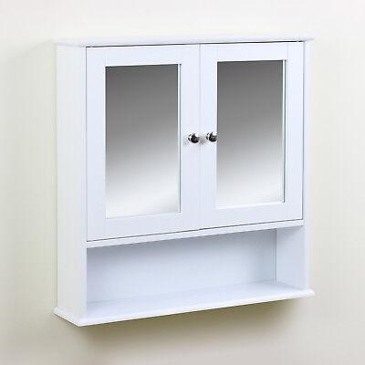 Classic Bathroom Cabinet Twin Door Mirrored Cupboard Wall Mounted Storage Toilet