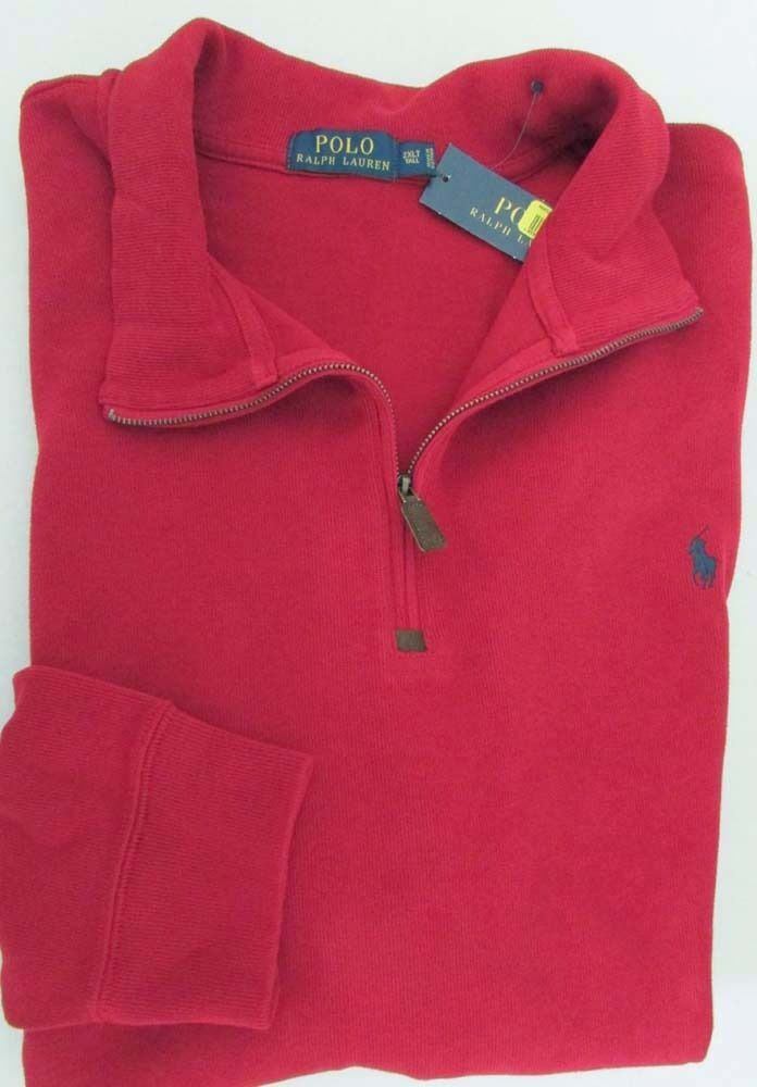 NWT Polo Ralph Lauren 1 2 Zip Sweater w Pony Logo Red TALL Sz  2XLT 3XLT