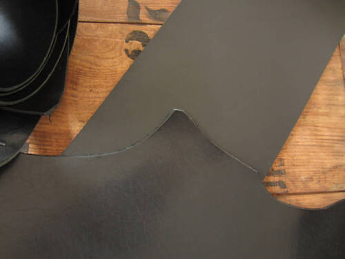 8-9 oz VEG TANNED LEATHER PIECE VARIOUS SIZES craft BLACK FULL GRAIN 3-3.5mm
