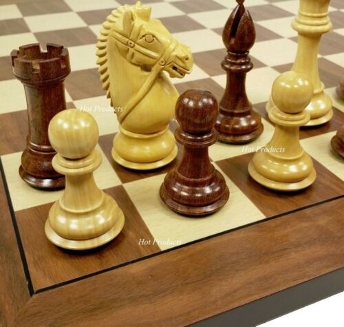"4 QUEENS 4/"" King Staunton Wood BRIDLED Knight Chess Set Walnut /& Maple Board 19/"""