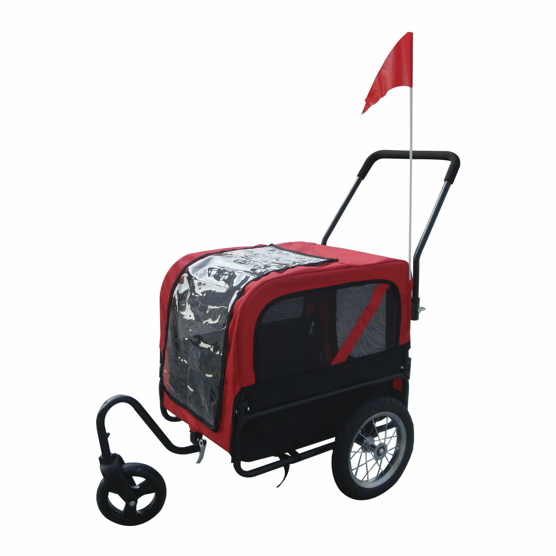 2 in 1 Pet Carrier Dog Bike Bicycle Trailer Stroller Jogging w  Swivel Wheel