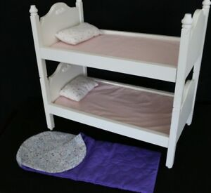 Pottery Barn Wooden Doll Bunk Bed Battat Sleeping Bag Fits