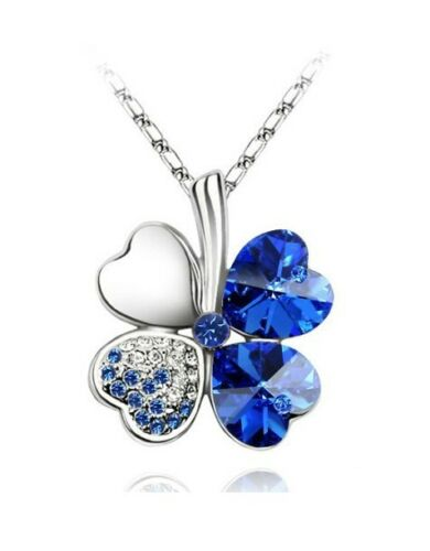 Lucky Silver /& Royal Blue Sapphire 4 Leaves Clover Crystal Pendant Necklace N109