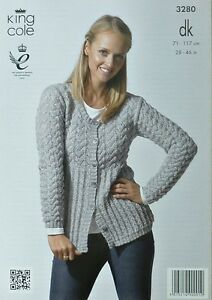 KNITTING PATTERN Ladies Long Sleeve Round Neck Long Lacy Cardigan King Cole 3...