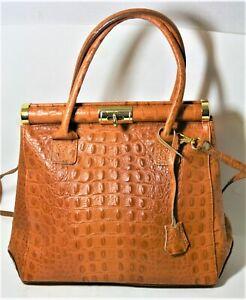 Borse I Bag.Borse In Pelle Alligator Embossed Leather Frame Bag Cognac Padlock Handbag Italy Ebay