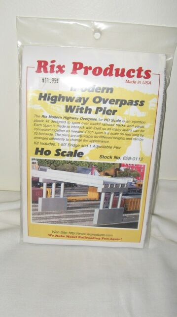 Rix Products HO Scale Modern Highway Overpass With Pier Item #628-0112 New