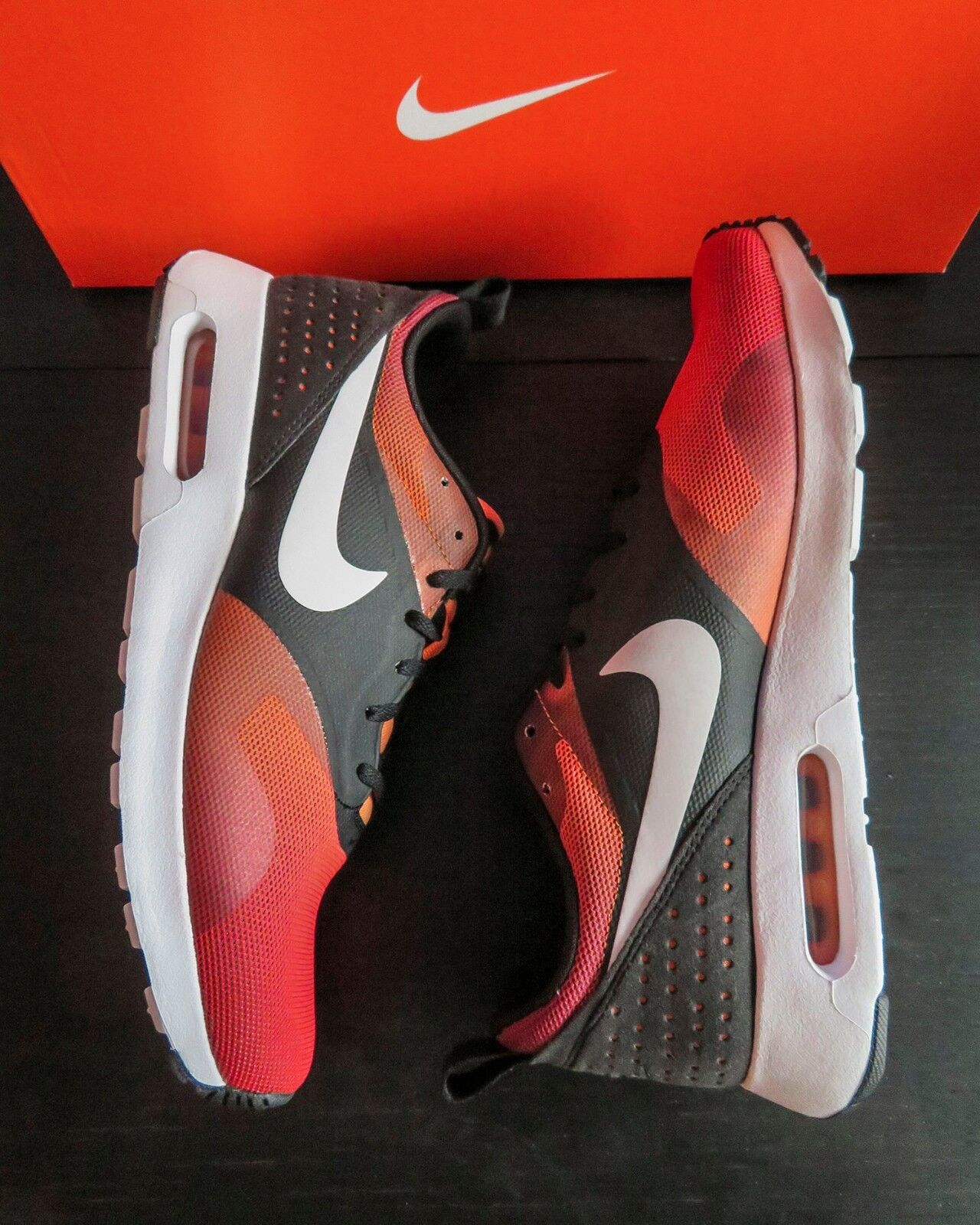 Nike air max tavas impronta Uomo 742782 008 taglia 9 bianco nero brillante mandarino