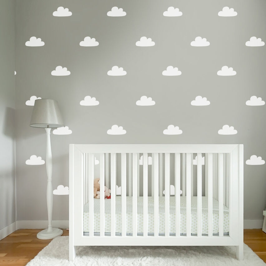 60 baby nursery bedroom sky cloud wall sticker decals - colour