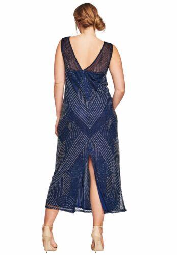 24W Plus Size Navy Blue Beaded V Neck Dress Gown 14W