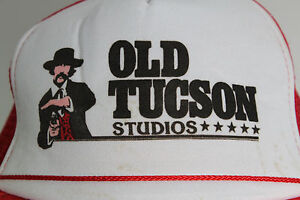 RARE-Vintage-OLD-TUCSON-STUDIOS-RED-amp-WHITE-GUN-FIGHTER-GUN-SLINGER-TRUCKER-HAT