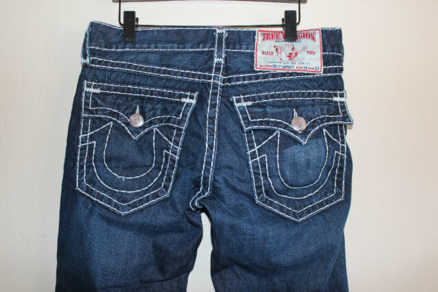 Men TRUE RELIGION BRAND JEANS Billy Super T 34 x 28 Baggy Flap Pocket Blue Denim