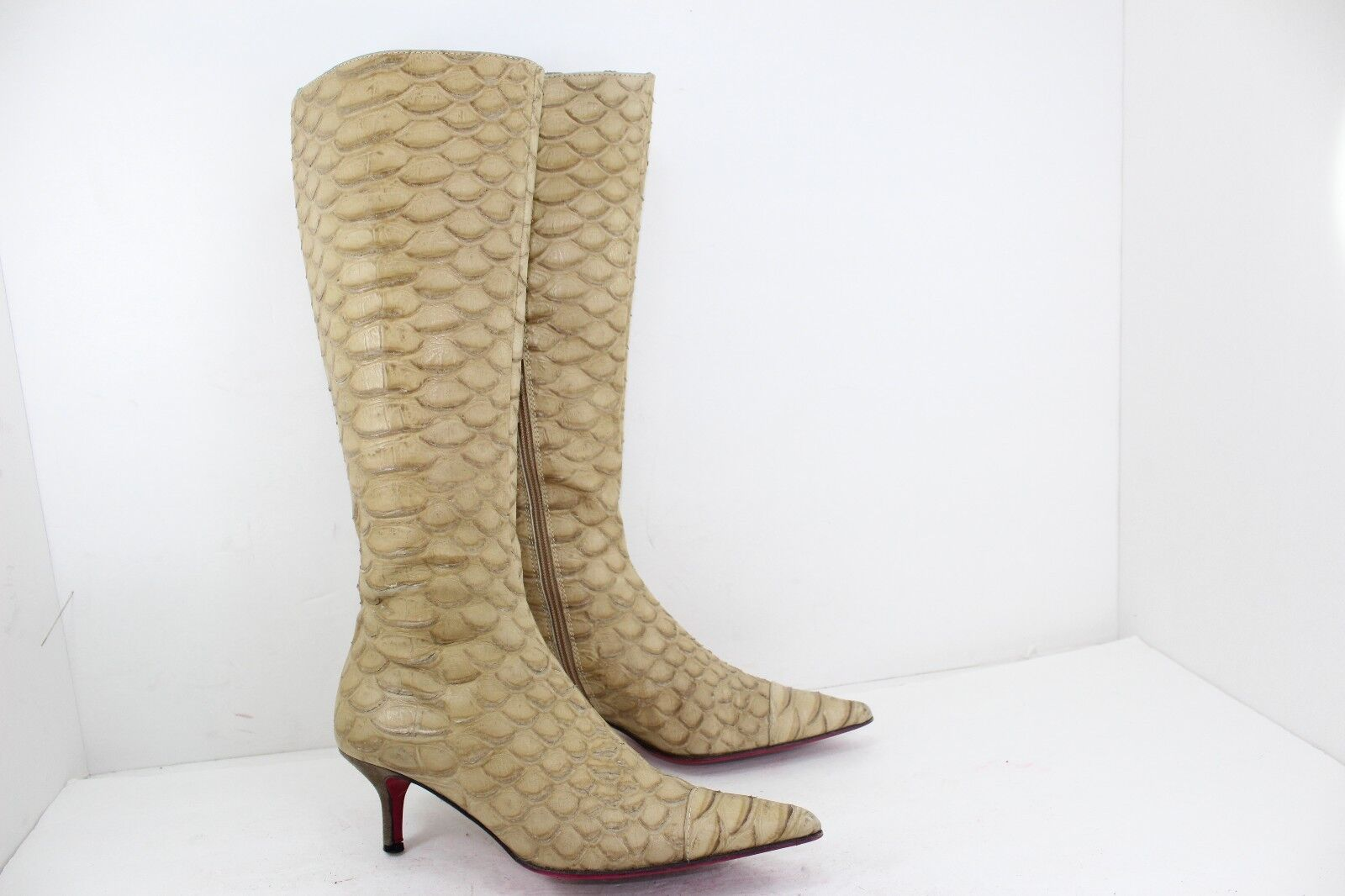 EMANUEL UNGARO LEONORA BEIGE BOOTS MADE IN IN ITALY SZ 7.5 M IN IN GREAT CONDITION 8ce5e9