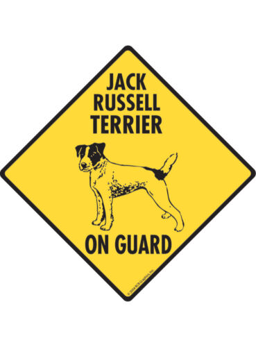 Warning Jack Russell Terrier On Guard Aluminum Dog Sign and Sticker
