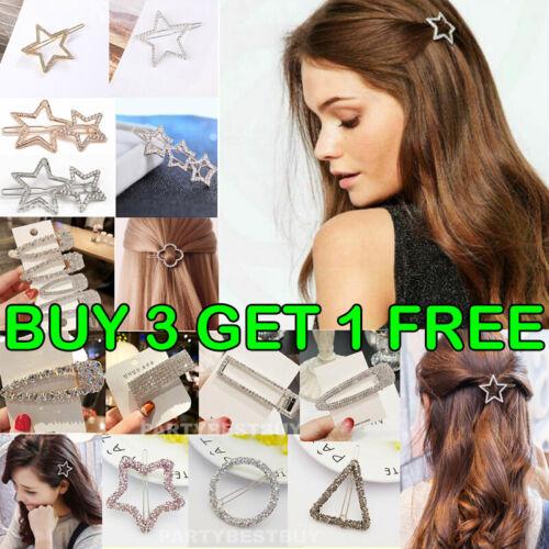 Women/'s Girls Hair Clip Rhinestone Crystal Hairpin Barrette Slide Clips Grip UK