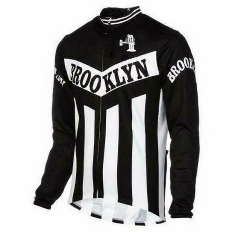 Polyester Brooklyn  cycling jersey Long sleeve Mens Thermal Fleece