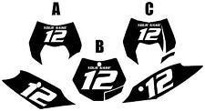 2011-2012 KTM 250SX Custom Pre-Printed Black Backgrounds White Numbers
