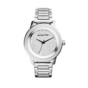 New Michael Kors Kinley Pave Crystal Dial Silver Women s 42mm MK5996 ... a9c7bc8cea
