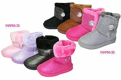Toddler's Girl's Cold Weather Faux Fur Shearling Winter Snowboots Booties (Warm)