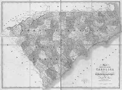 US CONFEDERATE STATES 1862 NC MAP EDGECOMBE FORSYTH FRANKLIN GASTON COUNTY huge