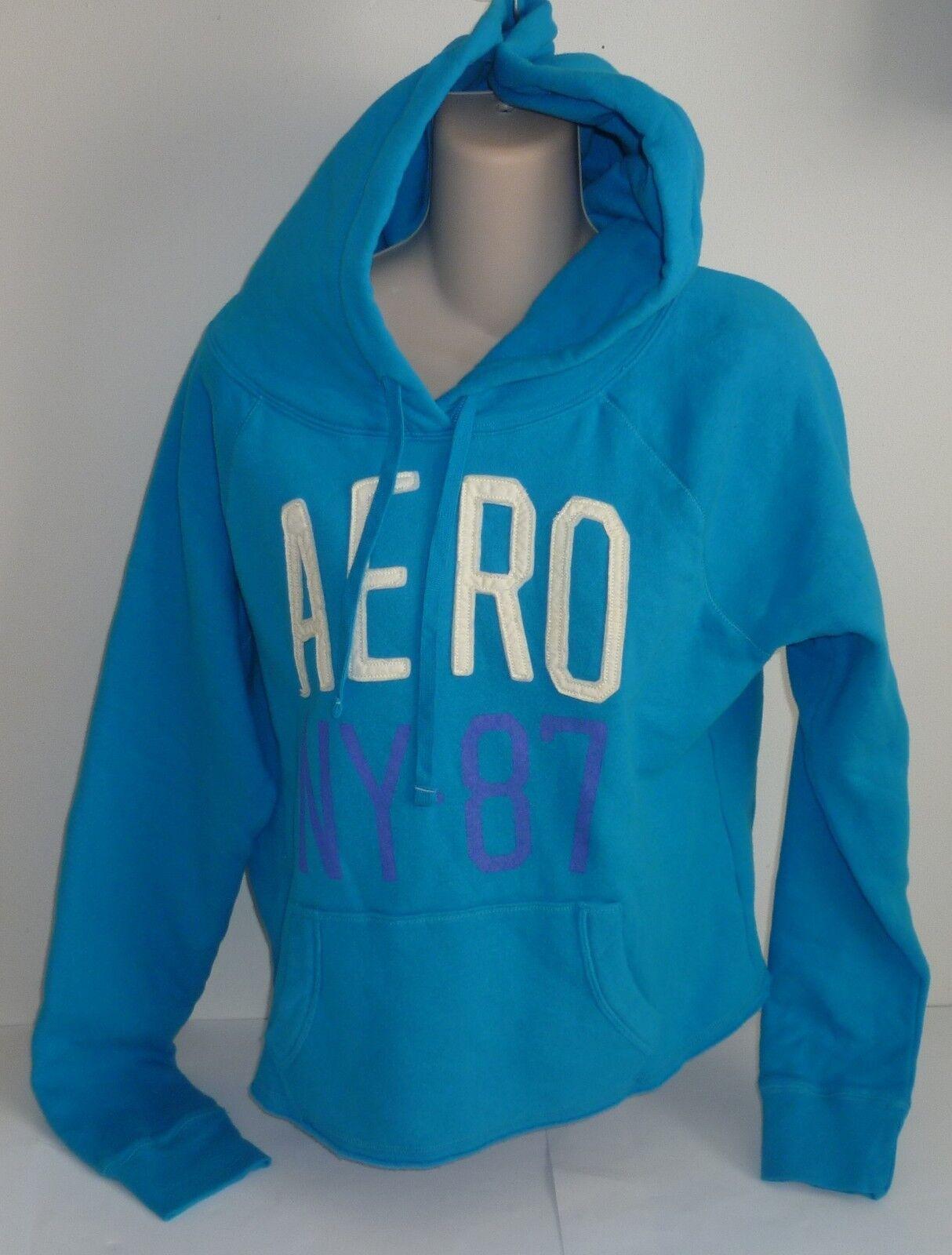 Womens AEROPOSTALE Aero NY-87 Cropped Popover Hoodie Hooded Sweatshirt NWT #1235