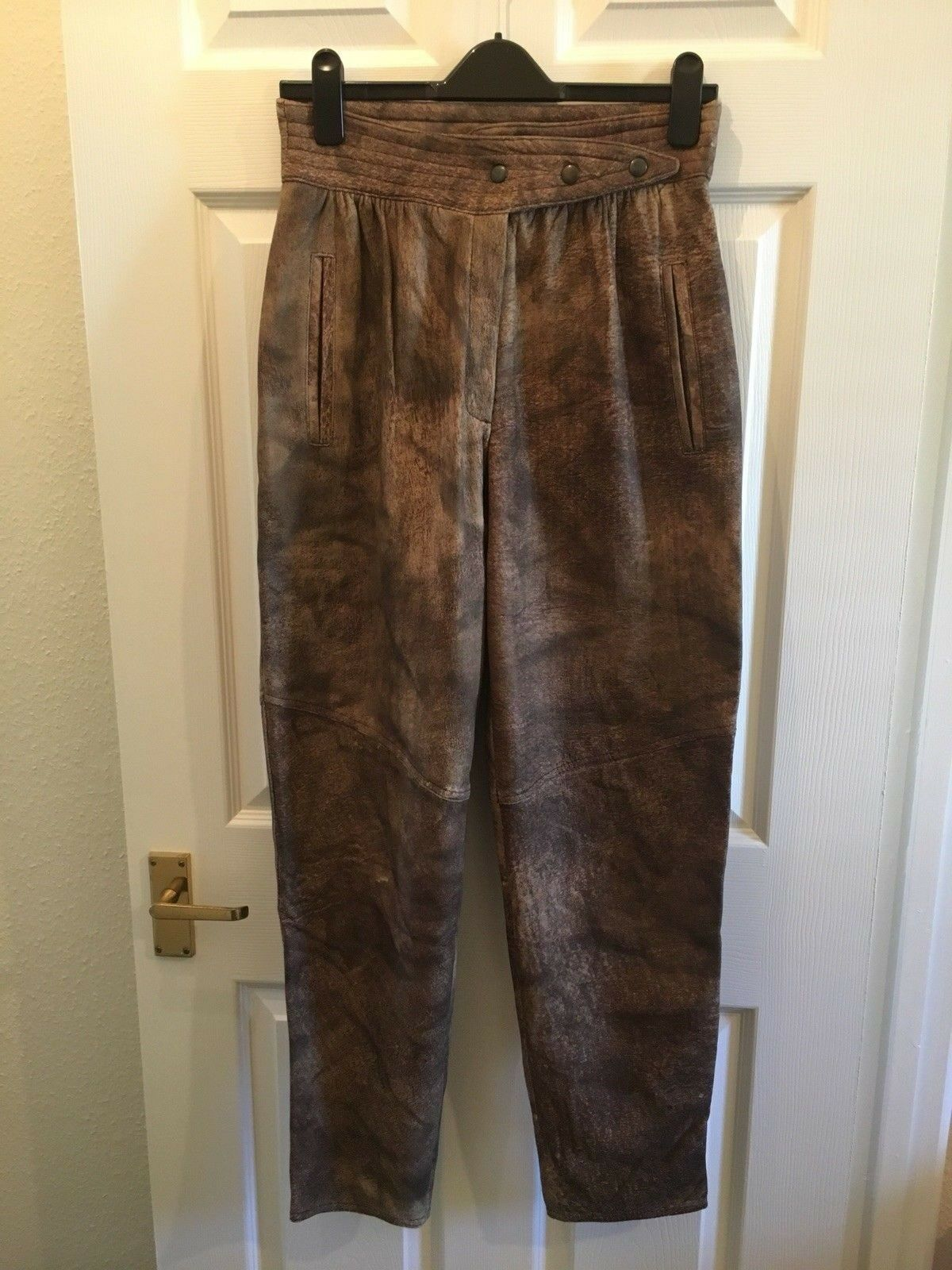 4dc099fa92f Vintage Brown 100% Leather Harem High Waist Trousers Animal Print 12 Suede  Loose ntauzp22119-Trousers