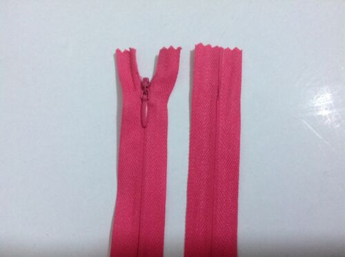 "56 cm Coral Invisible Concealed Zips 16/"" and 22/"" Premium Quality"