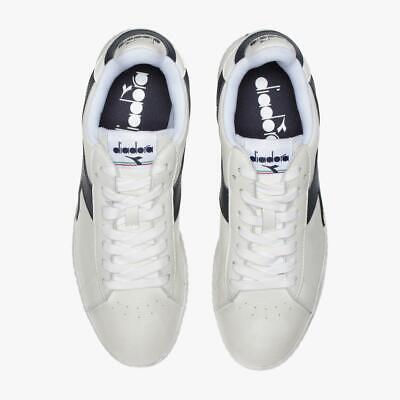 Dettagli su Scarpe sportive uomo DIADORA Game Lo Waxed bianco e blu in pelle 160821 C5262