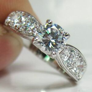 Womens fine white gold filled wedding Big CZ promise Love ring size 7 8 9
