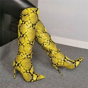 Womens High Stilettos Heel Snakeskin Print Pointy Toe Knee High Thigh Boots Club