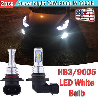 HB3 LED Fog Light Bulbs Extremely Bright 70W 8000LM 6000K White High Power 9005