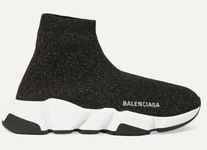 Details about Balenciaga Women Speed Sock Trainer White Black Gold Lurex Runner Sneakers 37
