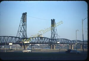 Hawthorne Bridge Portland Oregon 1950s 35mm Slide Red Border Kodachrome Original