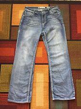 BKE TYLER BootCut Jeans Mens sz 34L 34x34 Buckle Medium Blue Tinted Wash Hemmed