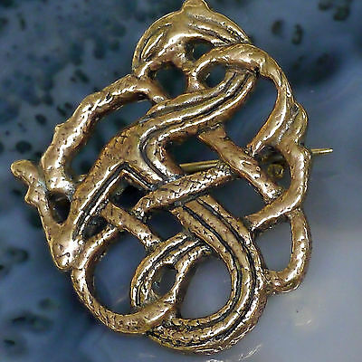 Wikinger Fibel kl. Bronze Gewandspange Mittelalter Drachen Fibel Viking Brosche