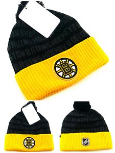 f822b74cbb2428 Boston Bruins New Adidas Cuffed Fanatics Skull Beanie Black Gold Pom ...