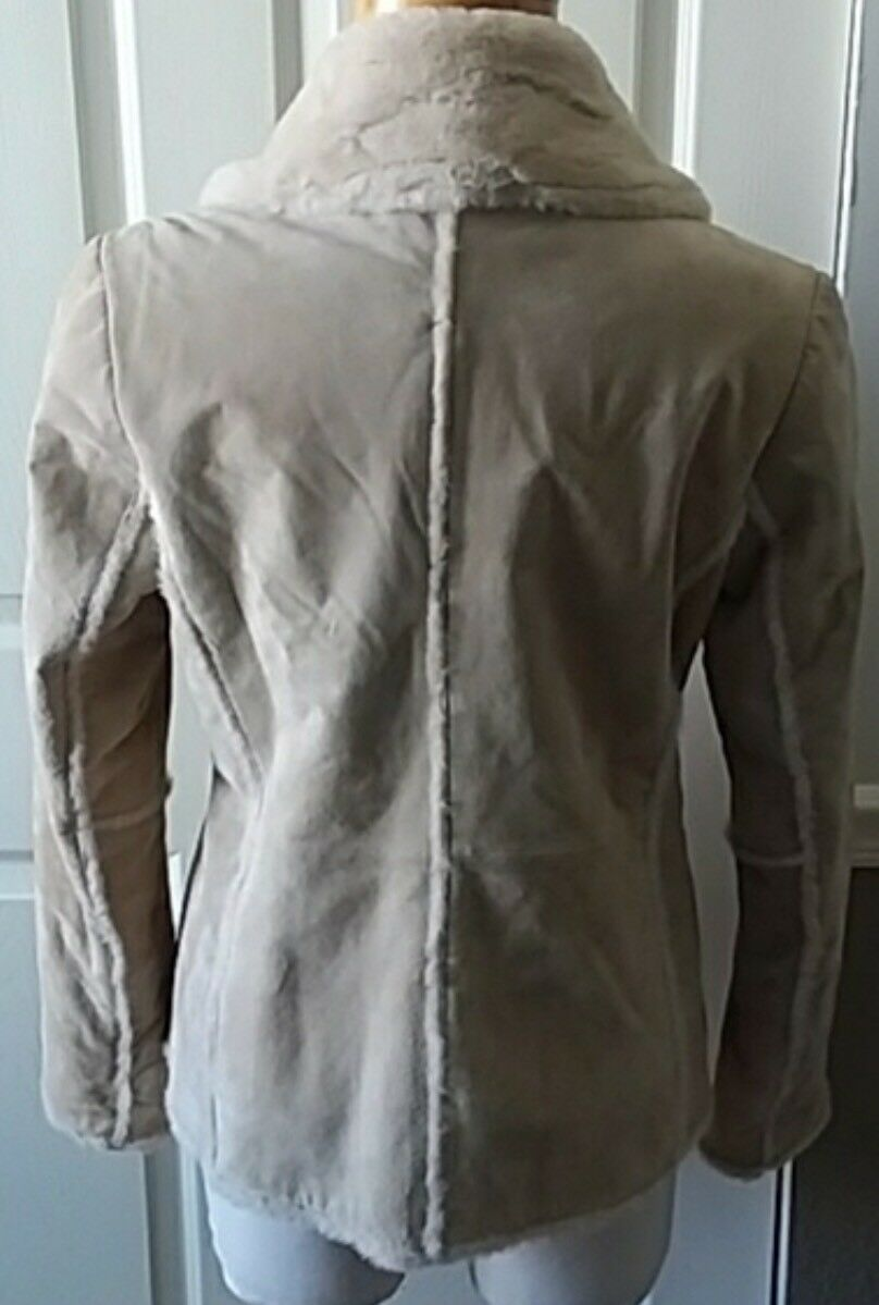 NWOT NWOT NWOT Covington Suede Leather Coat W Faux Fur,  Size L  (14-16) 01f32b