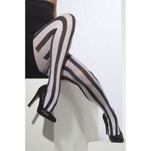 Noir-et-Blanc-Raye-Collant-Femmes-Accessoire-Deguisement-Vertical-Bande