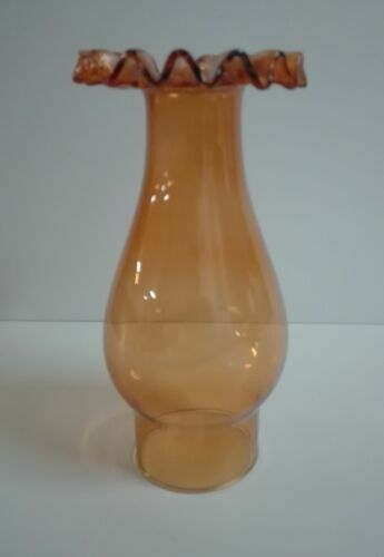 """Vintage Pink//Red Wine Glass Frill Top Chimney Electric//Oil Lamps 2 5//8/"""" fitter"""