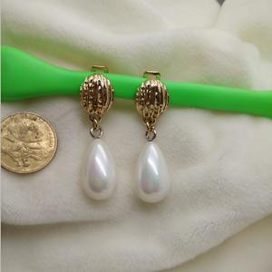 Boucles d`Oreilles CLIP ON Doré Pendant Simple Perle Goutte Poire Blanc Retro J8
