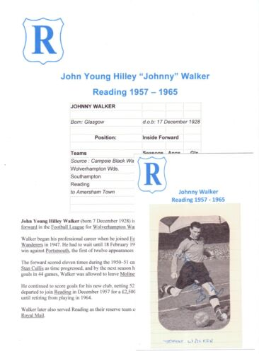 JOHNNY WALKER READING 19571965 ORIGINAL HAND SIGNED PICTURE CUTTING