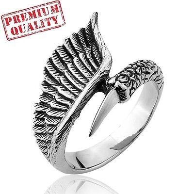 Vintage Men's Ring Angel's Wing Punk Titanium Steel Stainless Steel Ring