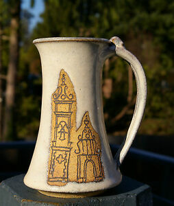 Tall-Pottery-Coffee-Mug-Handmade-Signed-Architecture-Bell-Tower-Arch-Buildings