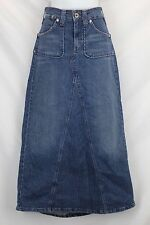 Levis Long Blue Denim Skirt Slight A-Line Maxi Modest No Slit Western Prairie 10