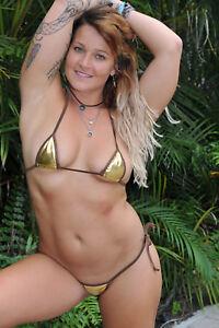 9b9aa2a92a26a4 mini micro bikini side tie g-string gold metallic lame w/ brown trim ...
