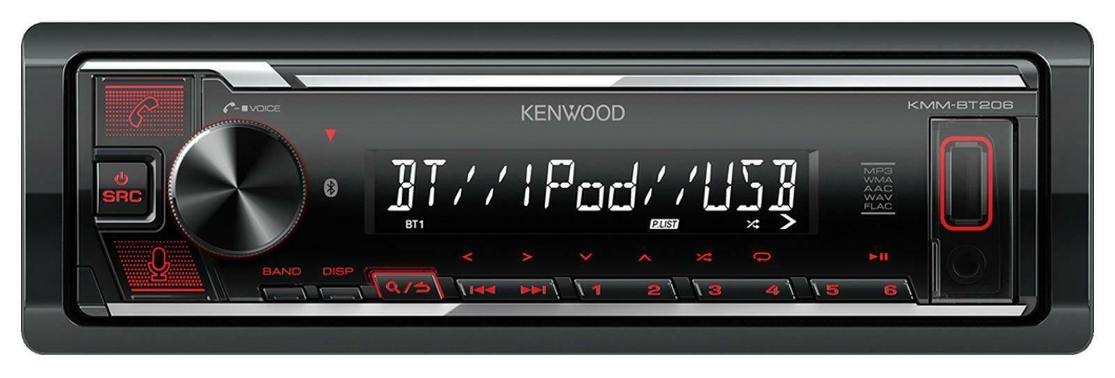 autoradio: Kenwood KMM-BT206 1-DIN Autoradio mit Bluetooth USB iPhone AUX-IN Amazon Alexa